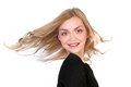 Free Portrait Of  Beautiful Blonde With Flying Hair Royalty Free Stock Images - 30027519