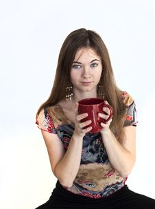 Free Young Woman With Beautiful Green Eyes With Red Coffee Cup Stock Photo - 30023280