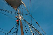 Free Climbing The Mast Of A Tall Ship Stock Photos - 30024743