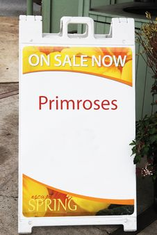 Free Sign Advertising Primroses Stock Photos - 30029593