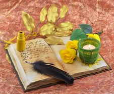 Free Diary With Yellow Roses Stock Image - 30030291