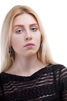 Free Close Up Portrait Of A Caucasian Girl Isolated On White Royalty Free Stock Photo - 30035905