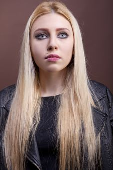Free Close Up Portrait Of A Caucasian Girl Wearing A Leather Jacket Royalty Free Stock Images - 30036029
