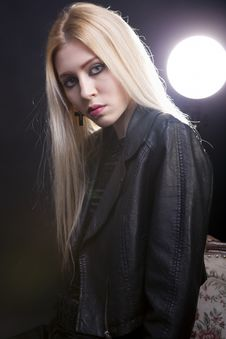 Free Artistic Portrait Of A Girl In Leather Jacket With A Light Behin Stock Images - 30036134