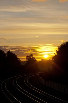 Sunset Over The Railroad Royalty Free Stock Image