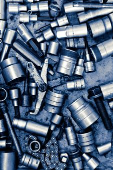 Assorted Old Hand Tools Background Stock Image