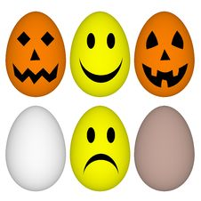 Free Eggs With Easter And Halloween Smile - Emoticon Stock Images - 30044684