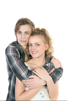 Free Portrait Of Young Happy Caucasian Couple Royalty Free Stock Images - 30044859