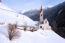 Free A Wintertime View Of A Small Church With A Tall Steeple Royalty Free Stock Photos - 30046628