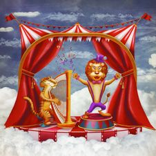 Free Сircus With Tent, A Tiger Playing On A Harp And Singing A Lion Stock Photo - 30048640