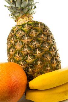 Fresh Tropical Fruits: Pineapple, Grapefruits, Banana Stock Photography