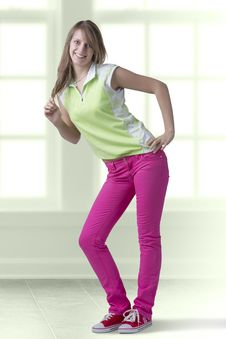 Beautiful Girl In Teen Outfit Standing In Pose Royalty Free Stock Image