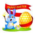Free Easter Bunny Rabbit Paints Egg Royalty Free Stock Images - 30058649