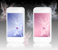 Two White Mobile Phones With  Ladybird On Abstract Royalty Free Stock Image