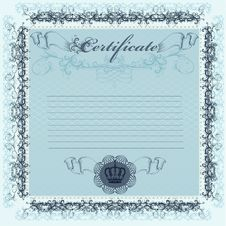 Certificate Or Coupon In Blue Color For Design Stock Images