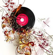 Free Creative Music Background With Notes And Ornament Royalty Free Stock Photos - 30054478