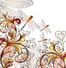 Free Cute Floral Hand Drawn Background With Ornament  And  Dragonfly Stock Image - 30054521