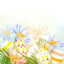Easter  Outdoor Background With Clear Space, Eggs And Green Gras Stock Photos