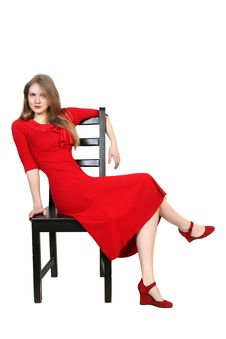 Free Portrait Of  Beautiful Blonde In Red Dress Royalty Free Stock Photography - 30057437