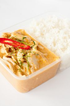 Free Thai Take Away Food, Panang Curry With Rice Stock Photos - 30061163