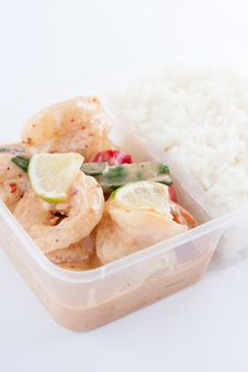 Free Thai Take Away Food, Prawn Lemon Sauce With Rice Stock Image - 30061471