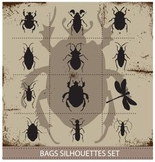 Free Insect And Bags Silhouettes Sign Black Color Royalty Free Stock Photography - 30064487