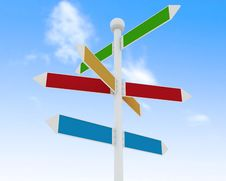 Free Direction Road Signs On Blue Sky  Background Stock Image - 30064701