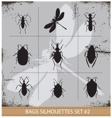 Free Insect Silhouettes Sign Set Black Color Stock Image - 30065791