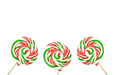 Free Three Sugar Lollipops In White Green And Red Isolated On White B Stock Image - 30087641