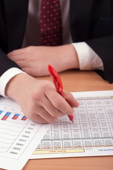 Businessman With Financial Documents Stock Image
