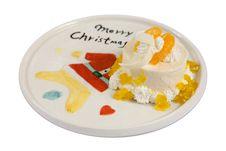 Free Cake On Plate Christmas Stock Photo - 30090710