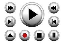 Free Media Web Buttons Set Royalty Free Stock Photos - 30091708