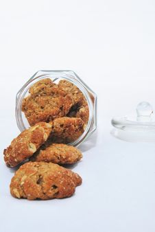 Anzac Oat Biscuits In Jar Royalty Free Stock Image