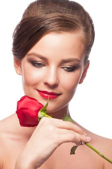 Free Woman With Red Rose Royalty Free Stock Photos - 30094558