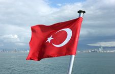 Free Turkey Flag On Izmir Bay Background Stock Photo - 30098440