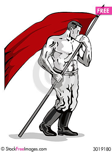 Free Man Holding Up A Red Flag Stock Photo - 3019180