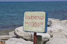 No Lifeguard On Duty Stock Image