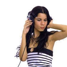 Free Young Beauty With Headphones Stock Image - 3011811