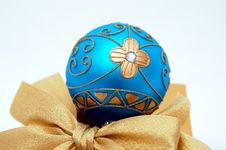Blue And Gold Christmas Ball Stock Photo