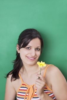 Free Girl With Yellow Flower Stock Photos - 3013443