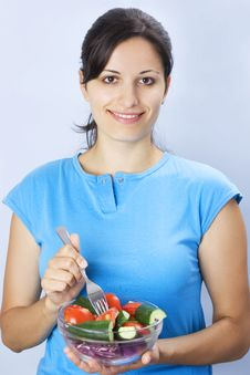 Free Girl With Salad Stock Photo - 3013450