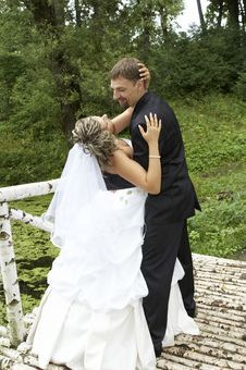 A Couple On Their Wedding Day Stock Photos