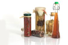 Jars Of Spices And Garlic And Onion Stock Photo