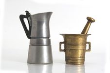 Coffee Kettle And Very Old Gri Royalty Free Stock Photography