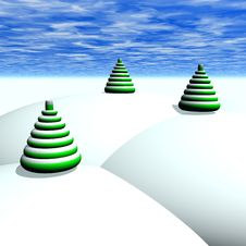 Free Christmas Trees And Snow Stock Image - 3016651