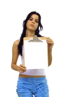 Girl Holding A Blank Paper Royalty Free Stock Image