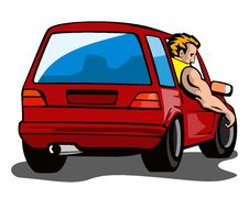 Free Dude In Red Car Royalty Free Stock Photography - 3019067