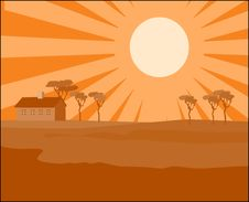 Free Farmhouse At Sunset Royalty Free Stock Image - 3019116