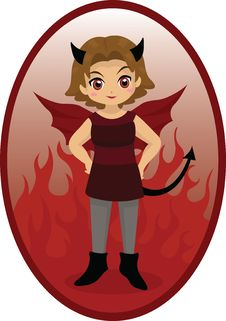 Free Little Devil Girl Royalty Free Stock Images - 30102549