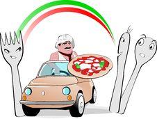 Free Pizza Man On Cinquecento Stock Photos - 30104143